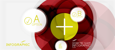 Paper geometric circle banner template, vector modern infographics abstract background