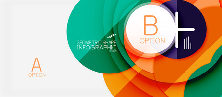 Colorful geometric abstract design with infographics option elements