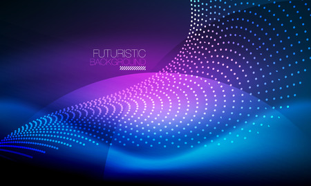 Smooth smoke particle wave, big data techno background with glowing flowing elements, hi-tech concept Vectores