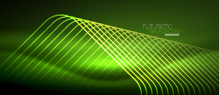 Neon glowing techno lines, green hi-tech futuristic abstract background template with square shapes illustration. Illustration