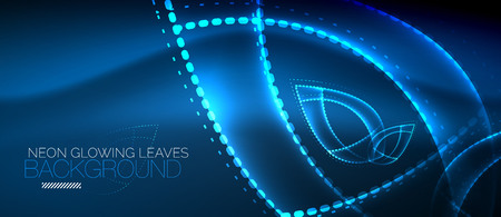 Neon leaf background, green energy concept