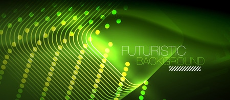 Neon glowing techno lines, green hi-tech futuristic abstract background template with square shapes