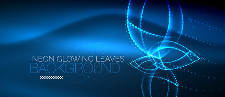 Vector blue neon leaf background, green energy concept