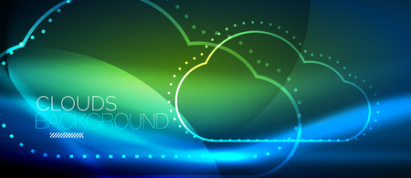 Vector blue cloud computing, storage concept, neon digital background