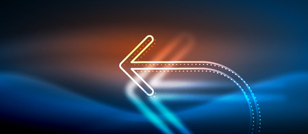 Techno neon glowing arrow background. Vector modern hi-tech tehnology abstract template