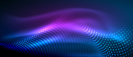 Glowing abstract wave on dark, shiny motion, magic space light. Vector techno abstract background. Blue and purple colors