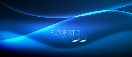 Neon glowing wave in magic energy and light motion background. Vector wallpaper template Vectores