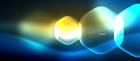 Neon hexagon background Illustration