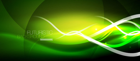 Bright neon lines wave, motion light trail concept, techno modern art