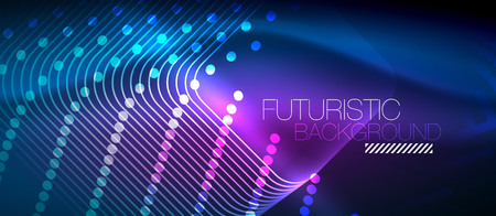 Neon glowing techno lines, hi-tech futuristic abstract background template with square shapes Vectores