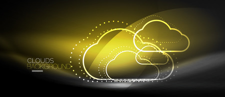 Vector cloud computing, storage concept, neon digital background