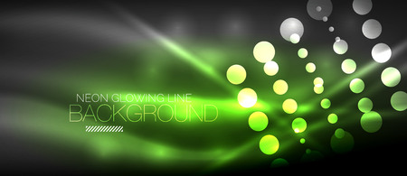 Circle abstract lights, green neon glowing background. Vector digital template