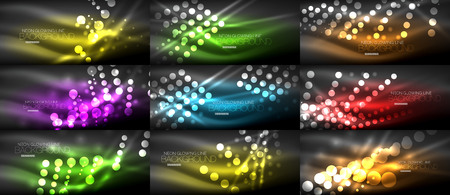 Set of digital circle neon lights abstract backgrounds, vector technology desgin with light effects