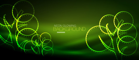 Vector neon glowing tree background