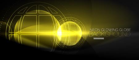 Techno globe concept, neon glow planet  イラスト・ベクター素材