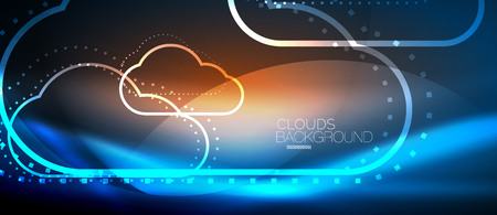 Vector blue cloud computing, storage concept, neon digital background