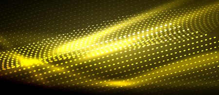 Neon yellow vector smooth wave digital abstract background Illustration