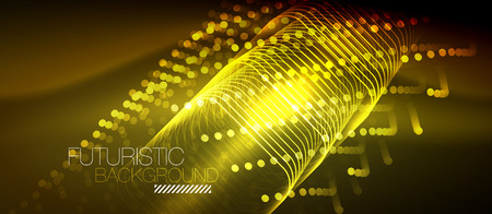 Neon glowing techno lines 3d graphic background backdrop