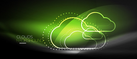 A Vector cloud computing, storage concept, neon digital background