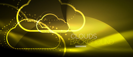 A Vector yellow cloud computing, storage concept, neon digital background