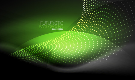 Smooth smoke particle wave, big data techno background with glowing flowing elements, hi-tech concept Illustration