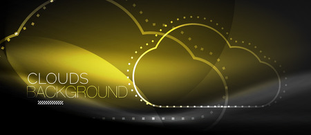 Vector cloud computing, storage concept, neon digital background