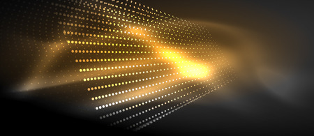 Neon light effects, particles, big data illustration concept, vector, yellow golden color
