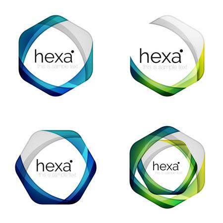 Hexagon vector logo icon templates 일러스트