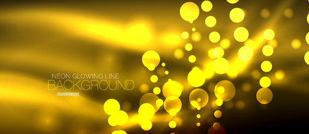 Circle abstract lights, yellow neon glowing background. Vector digital template