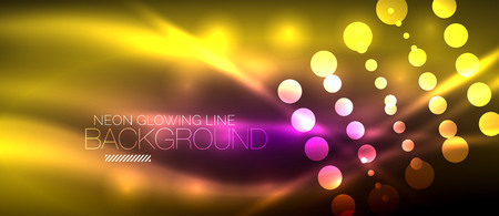 Circle abstract lights, neon glowing background illustration. Illustration