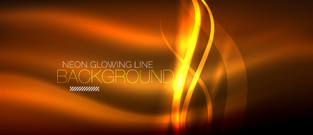 Neon orange elegant smooth wave lines digital abstract background. Çizim