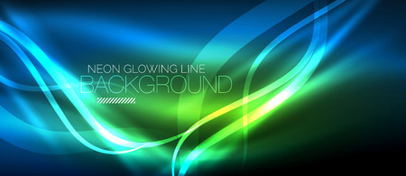 Neon blue elegant smooth wave lines digital abstract background.