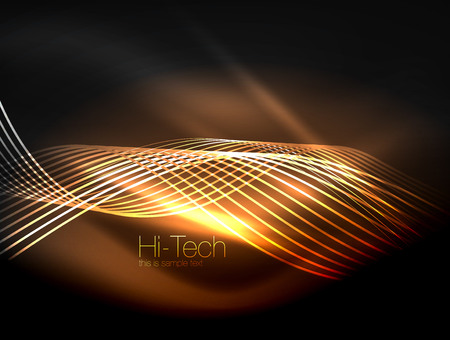 Elegant neon flowing stripes, smooth waves with light effects.