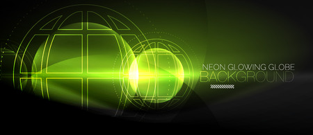Techno globe concept, neon glow planet on dark abstract color background, light effects.