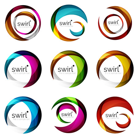 Set of swirl circles abstract vector icons. Circle, helix, rotation, spiral motion concepts. Vector illustration.