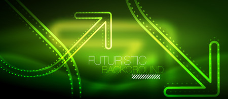 Techno neon glowing arrow background Illustration