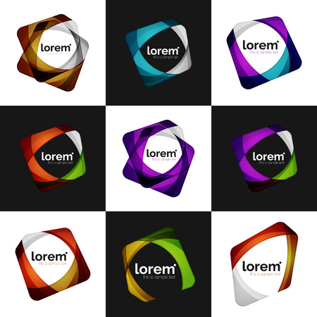 Set of vector overlapping shapes business emblems, vector abstract icons  イラスト・ベクター素材