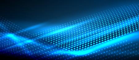 Neon smooth wave digital abstract background Illusztráció