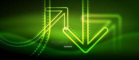 Techno neon glowing arrow background. Vector modern hi-tech tehnology abstract template