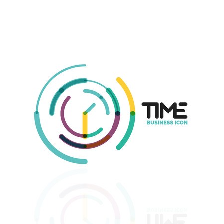 Vector abstract idea, time concept or clock business icon. Creative logotype design template Illustration