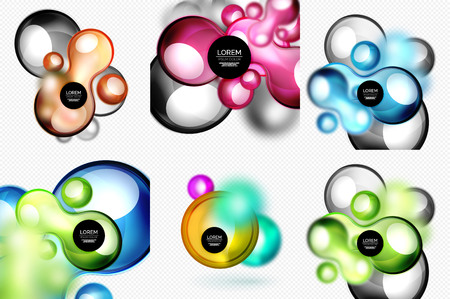 Set of glass shapes banner set with blurred effects Illustration