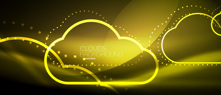 Vector yellow cloud computing, storage concept, neon digital background Illustration