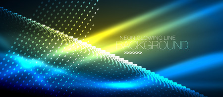 Neon blue vector smooth wave digital abstract background
