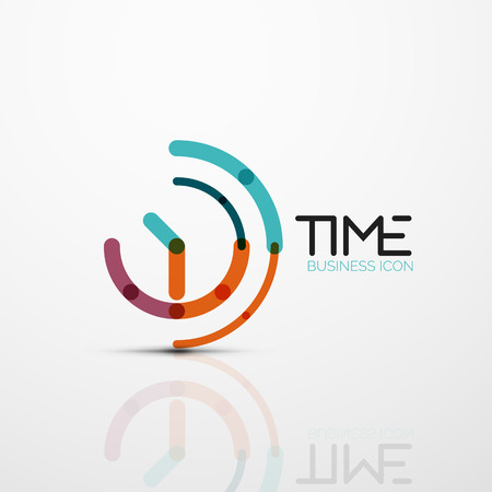 Vector abstract idea, time concept or clock business icon illustration.