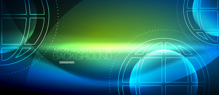 Techno globe concept, neon glow planet on dark abstract color background, light effects
