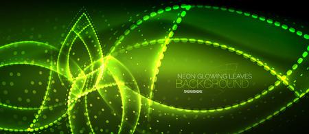 Neon leaf background, green energy concept illustration.