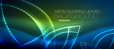 Blue neon leaf background, green energy concept illustration.