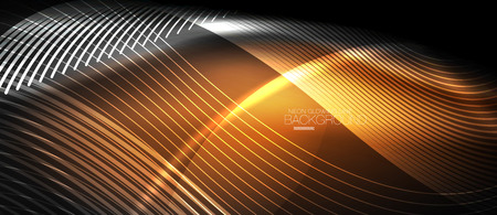 Neon smooth wave digital abstract background Stock Illustratie