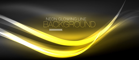 Neon elegant smooth wave lines digital abstract background Çizim