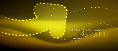 Neon techno arrow, digital vector abstract background